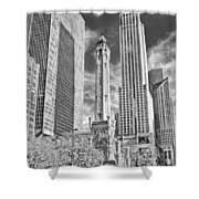 Chicago Water Tower Shopping Black And White Shower Curtain