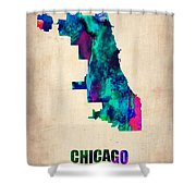 Chicago Watercolor Map Shower Curtain by Naxart Studio