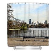 Chicago With Benches Shower Curtain
