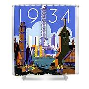 Chicago, World Fair, Vintage Travel Poster Shower Curtain
