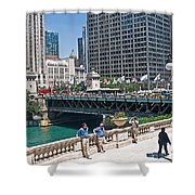 Chicago's Dusable Bridge On N. Michigan Avenue Shower Curtain