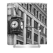Chicago's Father Time Clock Bw Shower Curtain