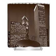 Chicagos Millennium Park Bw Shower Curtain by Steve Gadomski