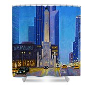 Chicago's Water Tower At Dusk Shower Curtain