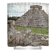Chichen Itza Draw-like Shower Curtain