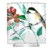 Chickadee And Berries Shower Curtain