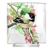 Chickadee And Spring Blossom Shower Curtain