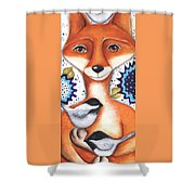 Chickadee Fox Shower Curtain
