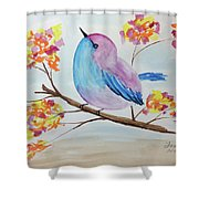 Chickadee On A Branch With Head Up Shower Curtain
