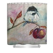 Chickadee On An Apple Tree Shower Curtain