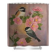 Chickadees And Roses Shower Curtain