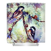Chickadees On Twig Shower Curtain