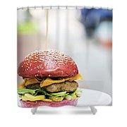 Chicken Burger With Gherkins Beetroot Bread Bun Shower Curtain