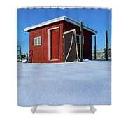 Chicken Coop In Snow Covered Field Shower Curtain