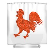 Chicken Rooster Crowing Drawing Shower Curtain