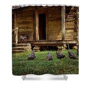 Chickens - Log House - Farm Shower Curtain