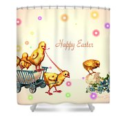 Chicks And Eggs - Happy Easter Shower Curtain