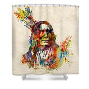 Chief Mojo Watercolor Shower Curtain