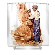 Chief Mungo Martin Totem Carver Shower Curtain