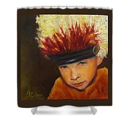 Chief Wannabee #2, Native American Indian Child   Shower Curtain