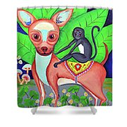 Chihuahuaw/monkie Shower Curtain