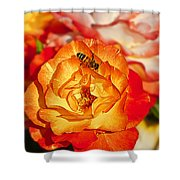 Chihuly Rose With Bee Shower Curtain