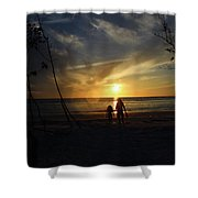 Child And Grandmother At Ft Desoto Shower Curtain