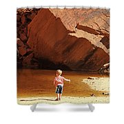 Child At Upper Emerald Pool-zion National Park Shower Curtain by PJ Boylan