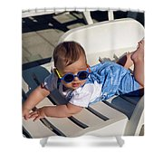 Child In A Denim Suit And Sunglasses Lying Shower Curtain