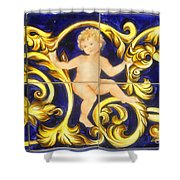 Child In Blue And Gold Shower Curtain