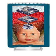 Child In Flat Worlds Shower Curtain