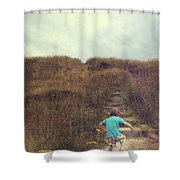 Child On Stairs On Beach Shower Curtain