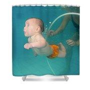 Child Swims Underwater  Shower Curtain