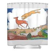 Childhood Drawing Cougar Attacking Deer Shower Curtain