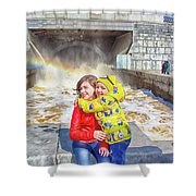 Children And A Rainbow Shower Curtain