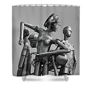 Children At Play Statue B W Shower Curtain