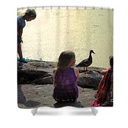 Children At The Pond 1 Shower Curtain