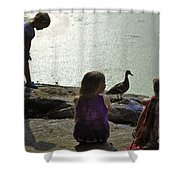 Children At The Pond 1 Version 2 Shower Curtain