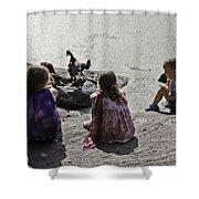 Children At The Pond 2 Shower Curtain
