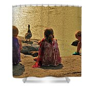 Children At The Pond 4 Shower Curtain
