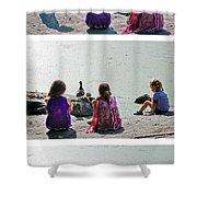 Children At The Pond Triptych Shower Curtain