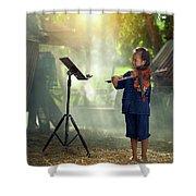 Children In Folk Costumes Playing Violin In Thailand Shower Curtain