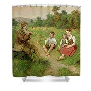Children Listen To A Shepherd Playing A Flute Shower Curtain