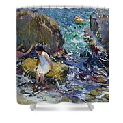 Children On The Shore. Javea Shower Curtain