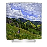 Children On Vail Mountain Shower Curtain