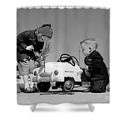 Children Play At Repairing Toy Car Shower Curtain