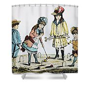 Children Playing Croquet Shower Curtain by Granger