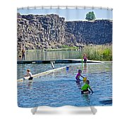 Children Playing In Dierkes Lake In Snake River Above Shoshone Falls Near Twin Falls-idaho  Shower Curtain