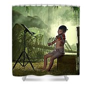 Children Playing Violin In The Folk Style. Shower Curtain