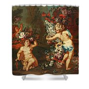 Children Playing With Flowers Shower Curtain